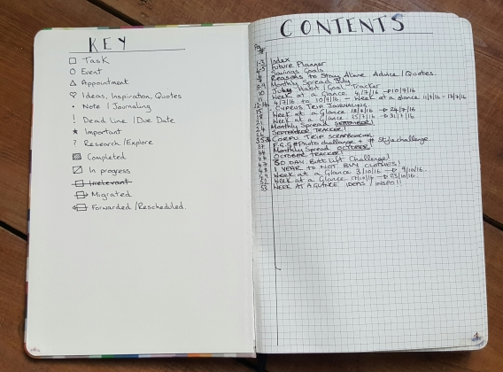 My Original try of my starting Bullet Journal
